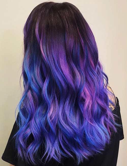 انواع رنگ موی آبی بنفش خیره کننده برای بانوان