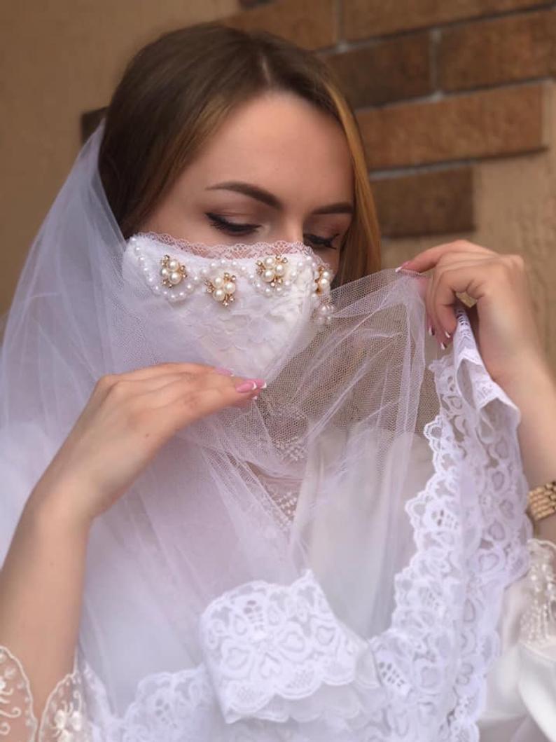 انواع ماسک ضد کرونا برای عروس و داماد